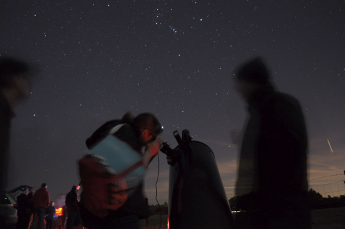 An attendee at Stargazing at Paynes Prairie looks through a telescope at the Orion Nebula on Saturday, January 24, 2015.